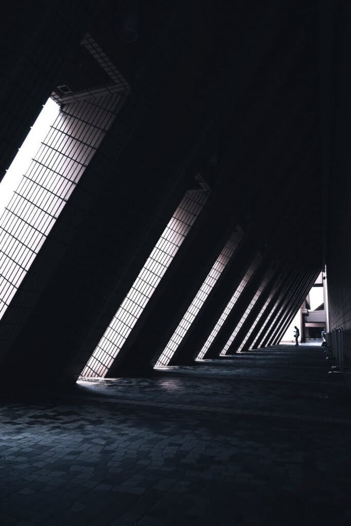 Structural photography of a diagonally-lit structure.