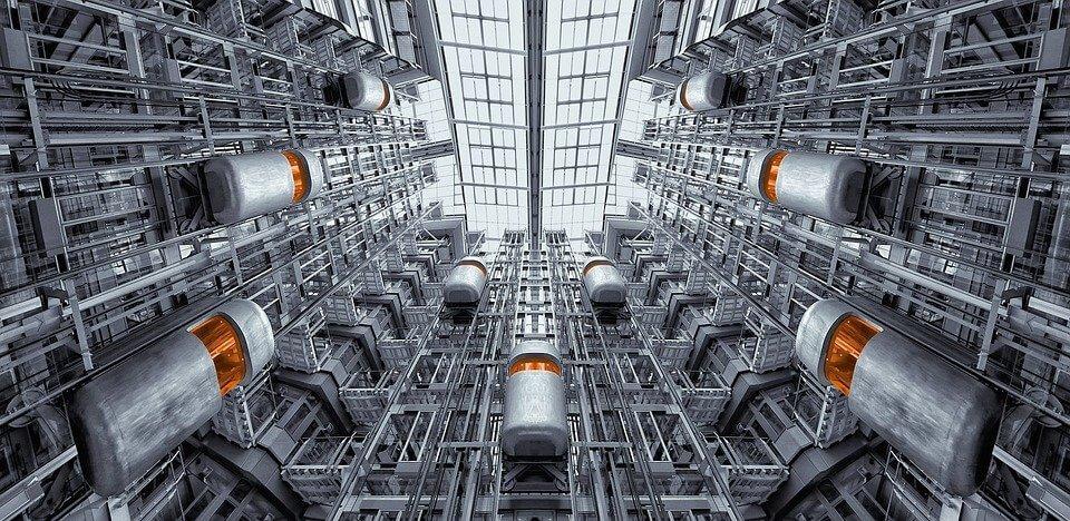 A photograph of multiple steel elevators in Ludwig Erhard Haus in Berlin.
